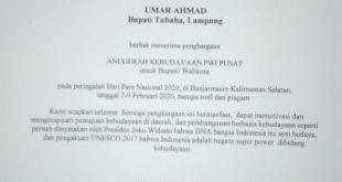 Umar Ahmad Terima Penghargaan Anugerah Kebudayaan PWI Pusat