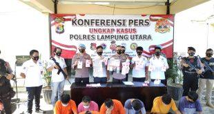 Ops Antik Krakatau 2021, Polres Lampung Utara Amankan 31 Tersangka Narkoba